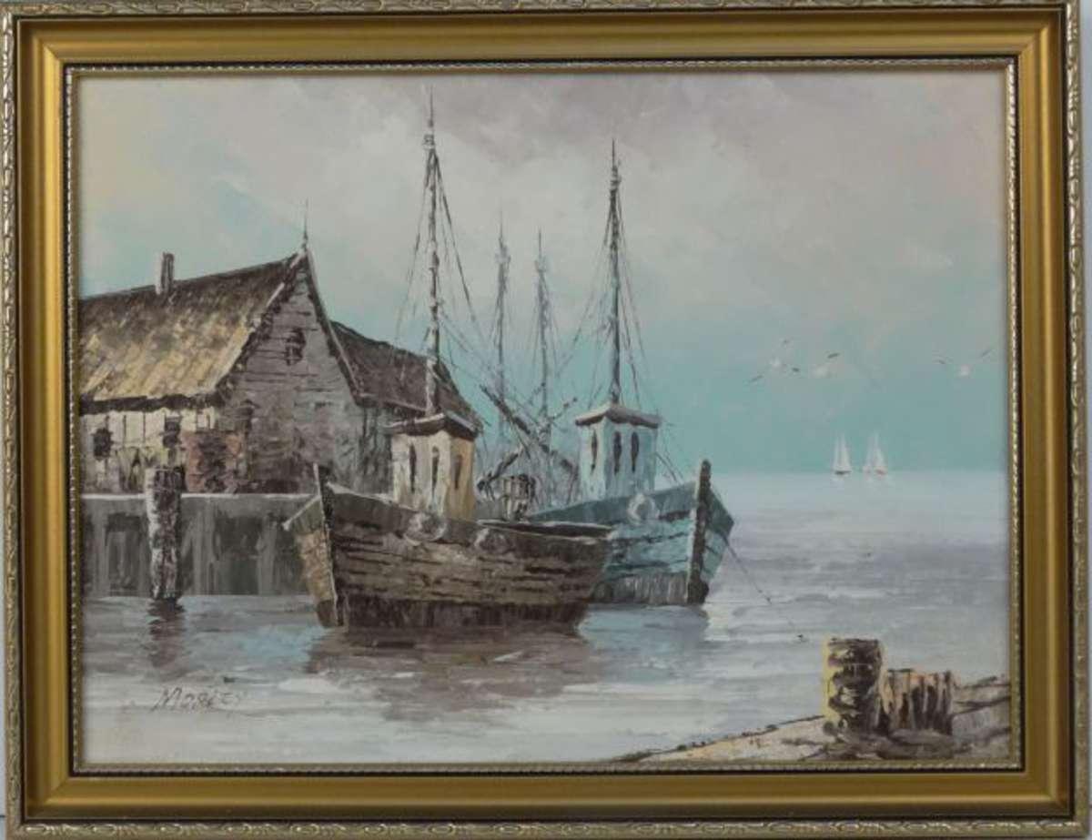 morley xx bateau de p che au port huile sur toile sign e en bas gauche 30 x 40 cm vente aux. Black Bedroom Furniture Sets. Home Design Ideas