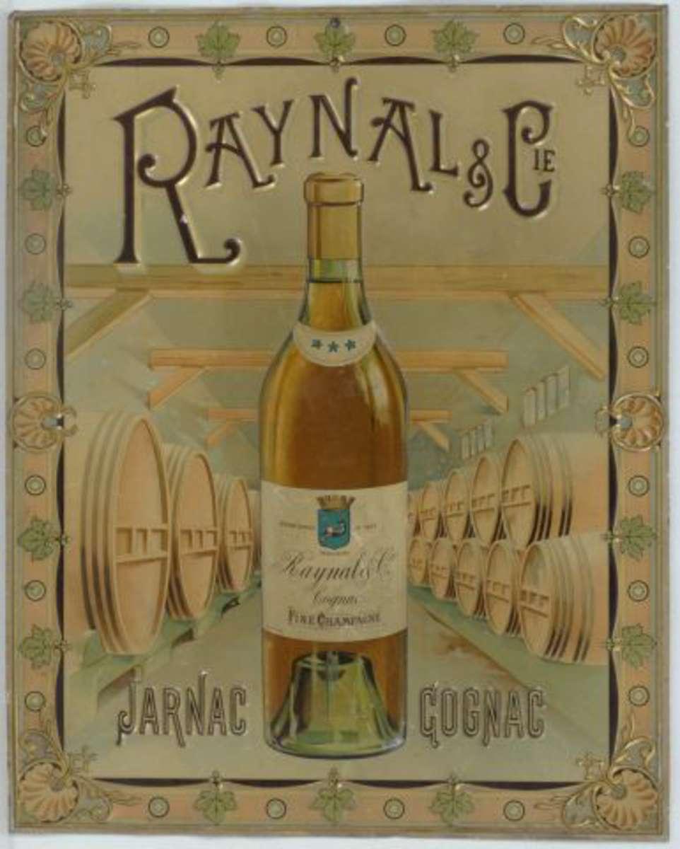 cognac raynal cie jarnac t le lithographi e et emboss e illustr e d 39 une bouteille devant. Black Bedroom Furniture Sets. Home Design Ideas