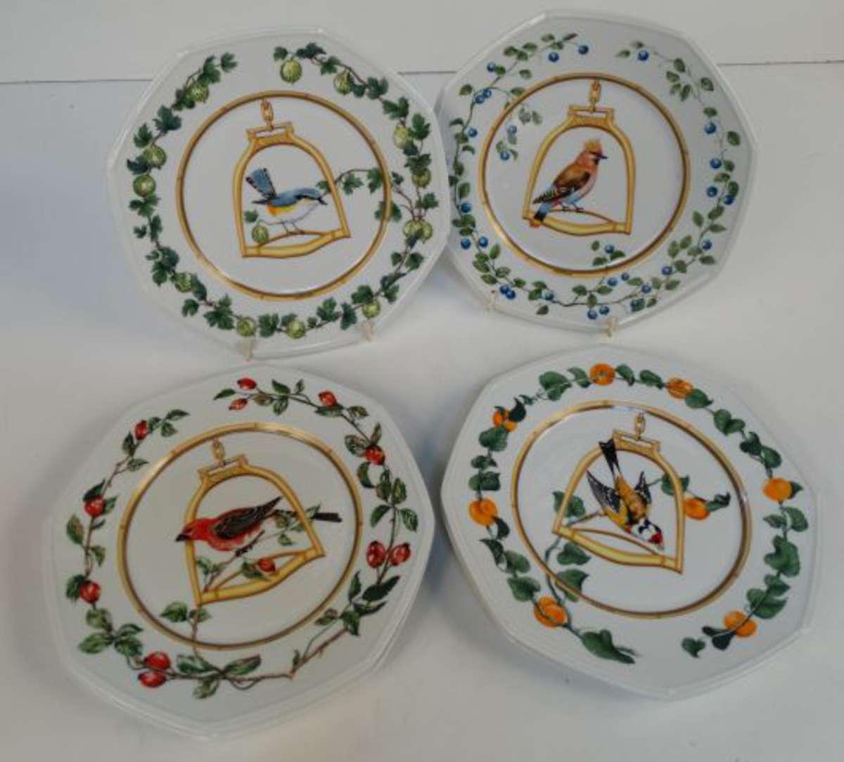 Herm s 6 assiettes de pr sentation en porcelaine mod le - Assiette de presentation doree ...