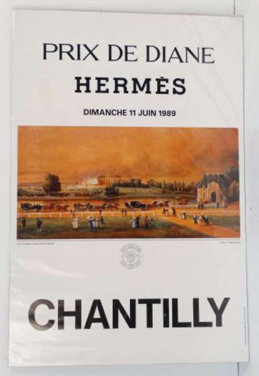 affiche le grand prix de diane herm s chantilly 1989 dim 57 5 cm x 38 5 cm traces de. Black Bedroom Furniture Sets. Home Design Ideas