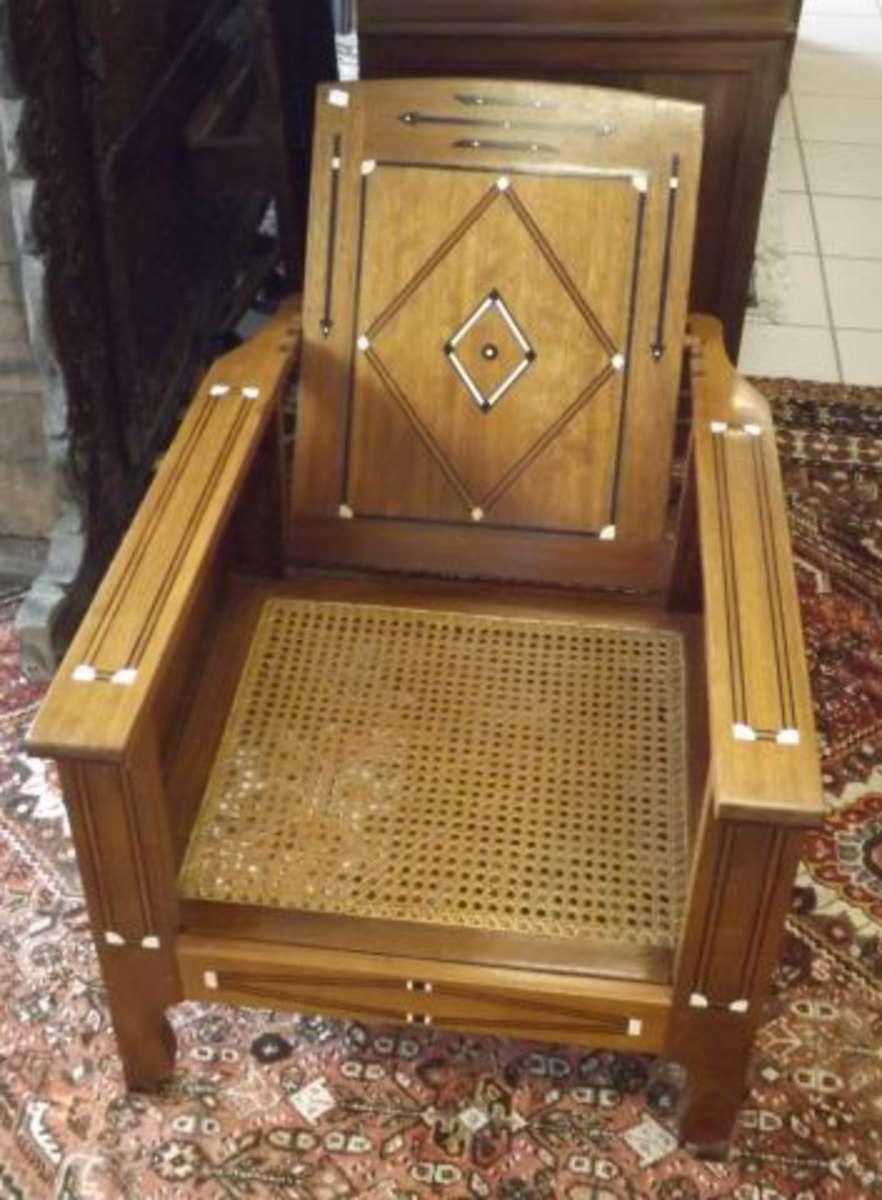 fauteuil morris en bois exotique marquet de filets et motifs g om triques d 39 ivoire le si ge. Black Bedroom Furniture Sets. Home Design Ideas