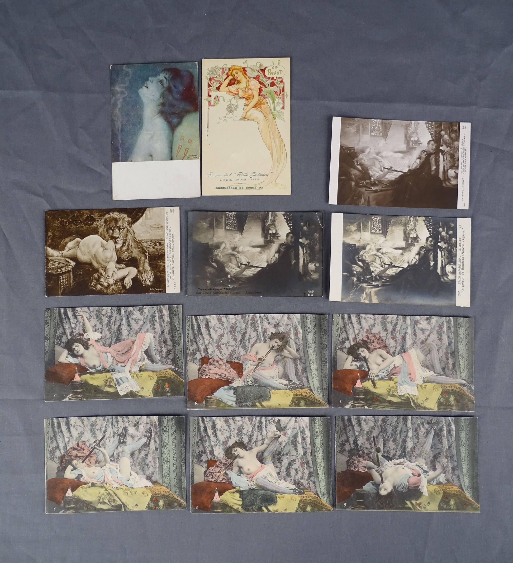 Douze cartes postales de scènes de fumeries d'opium représentant des femmes...