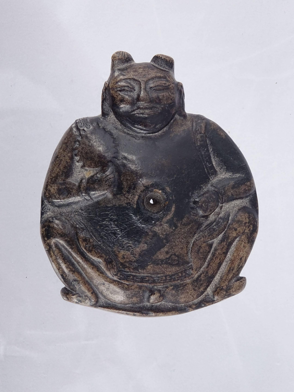 Rare et extraordinaire ancien fourneau de pipe à opium en céramique noire...