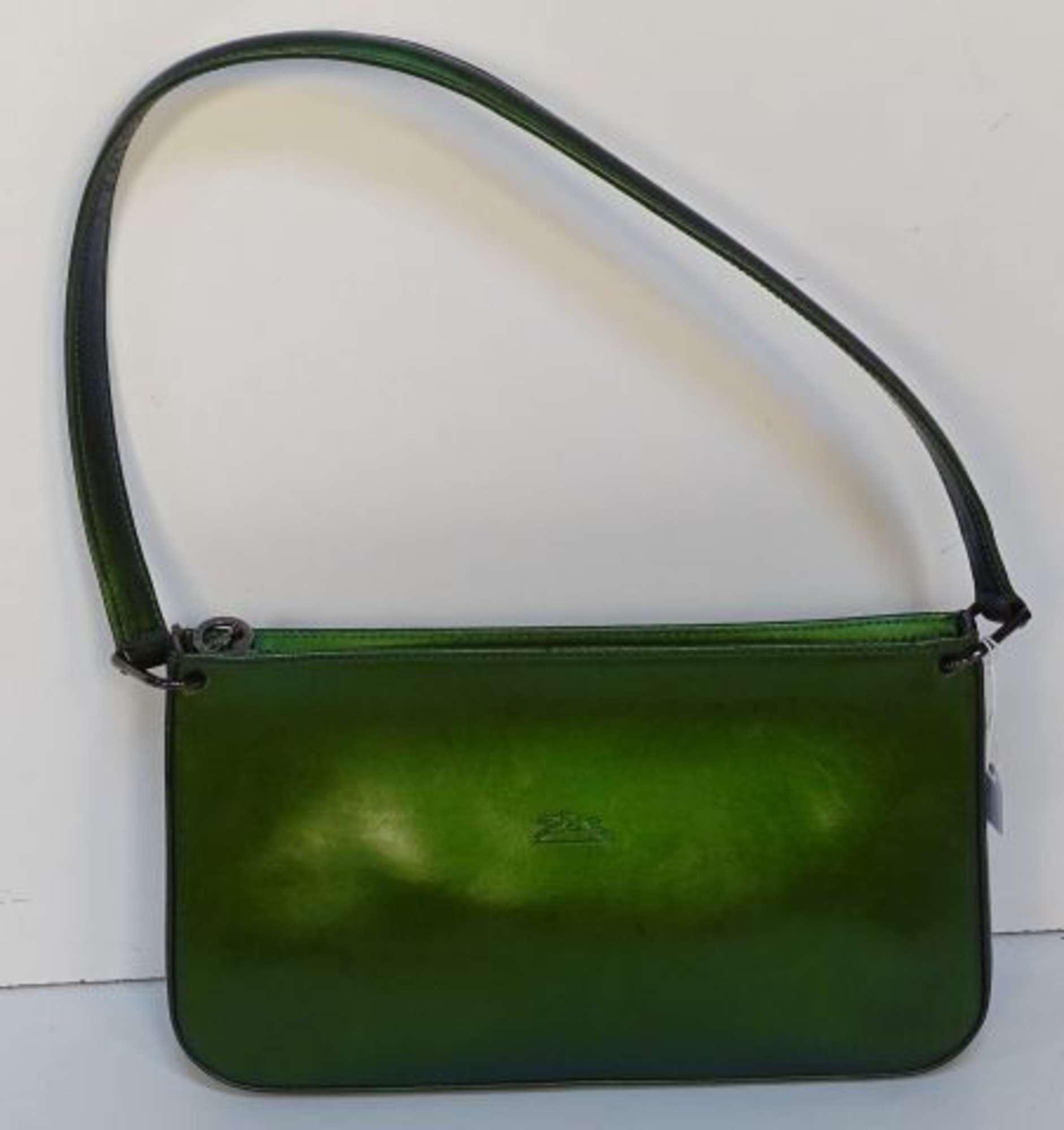 LONGCHAMP Sac baguette porté épaule en cuir vernis vert