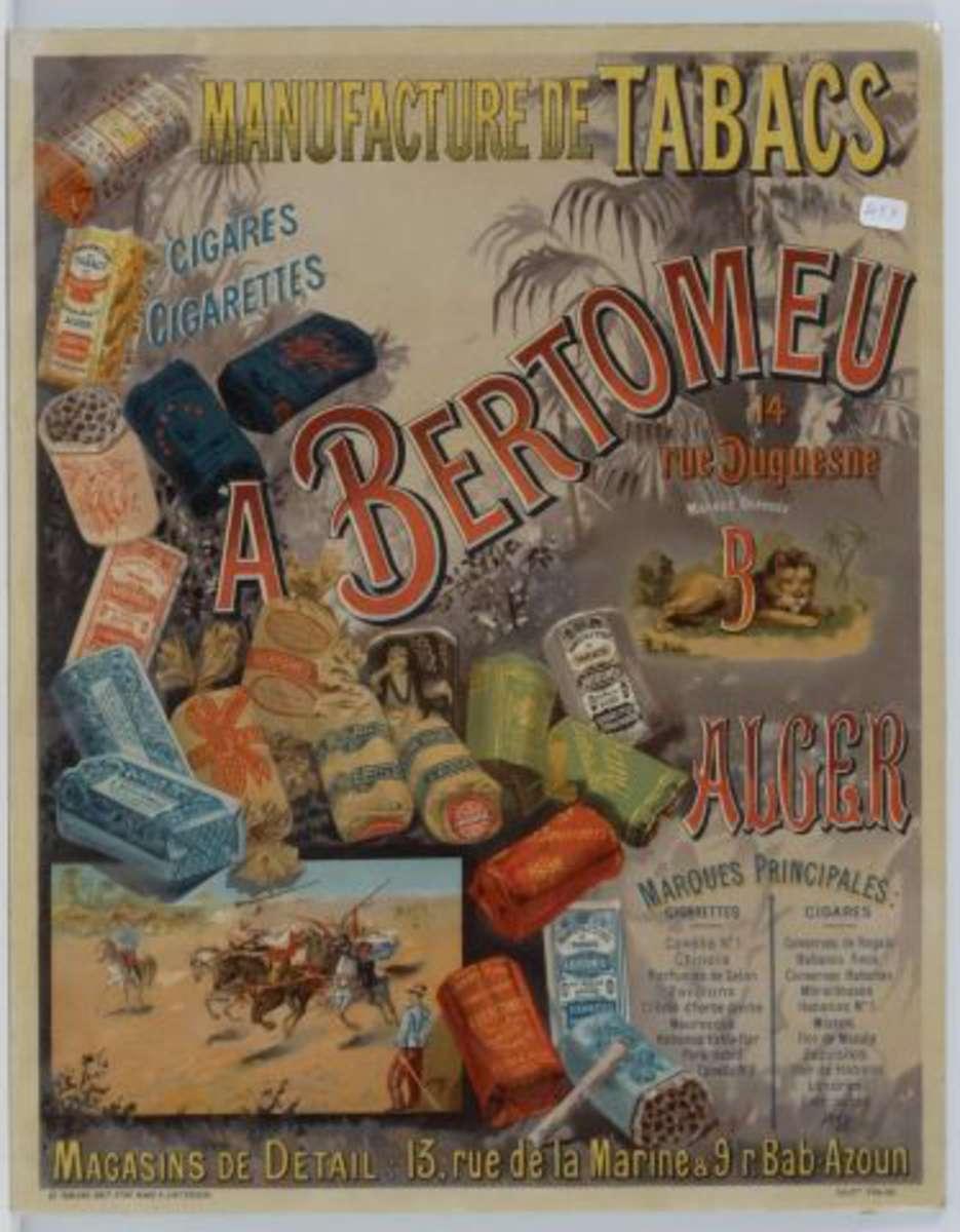 manufacture de tabacs a bertomeu alger alg rie affiche publicitaire ancienne. Black Bedroom Furniture Sets. Home Design Ideas