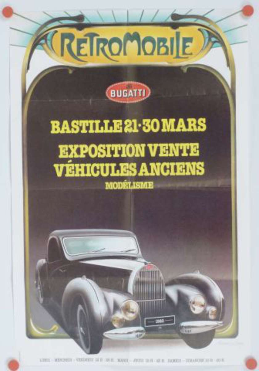 automobile affiche r tromobile bastille mars 1980 bugatti formt 40x60cm vente aux. Black Bedroom Furniture Sets. Home Design Ideas