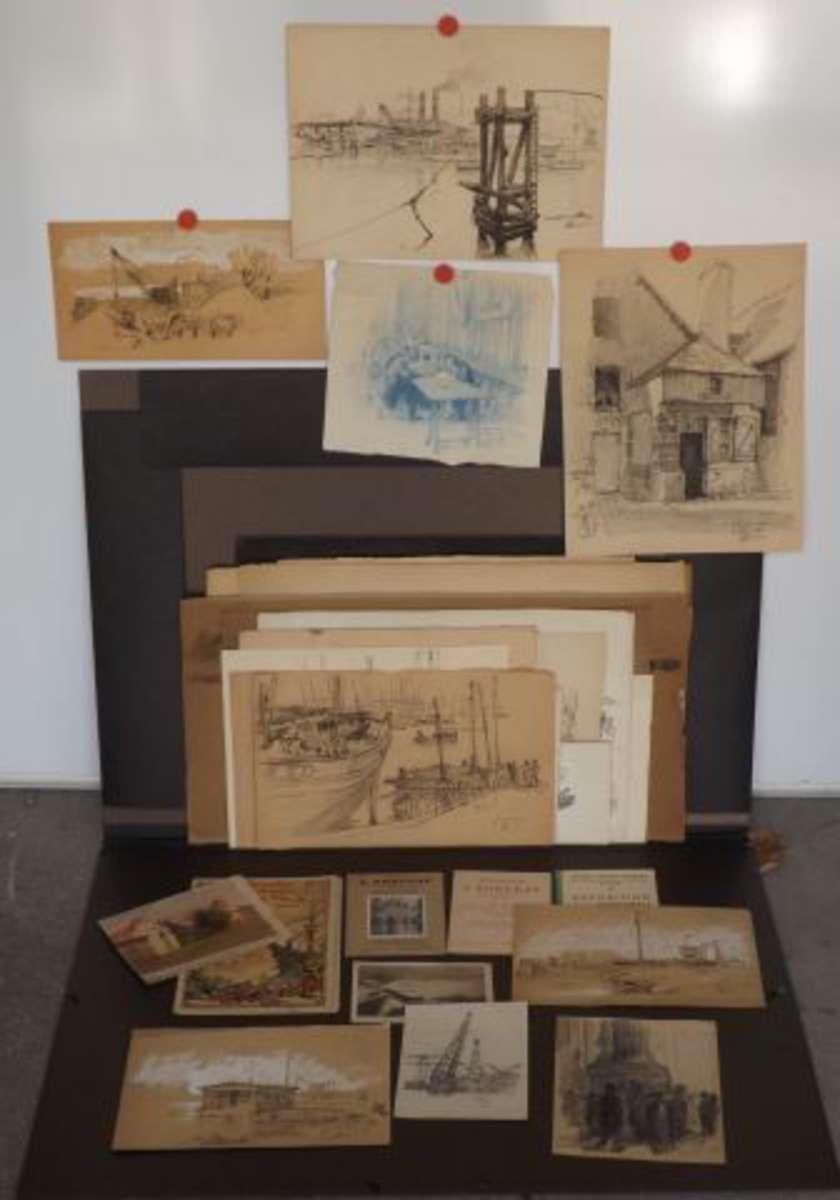 jules ponceau artiste peintre nantais 1881 1961 nantes 44 ensemble d 39 env 100 dessins et. Black Bedroom Furniture Sets. Home Design Ideas