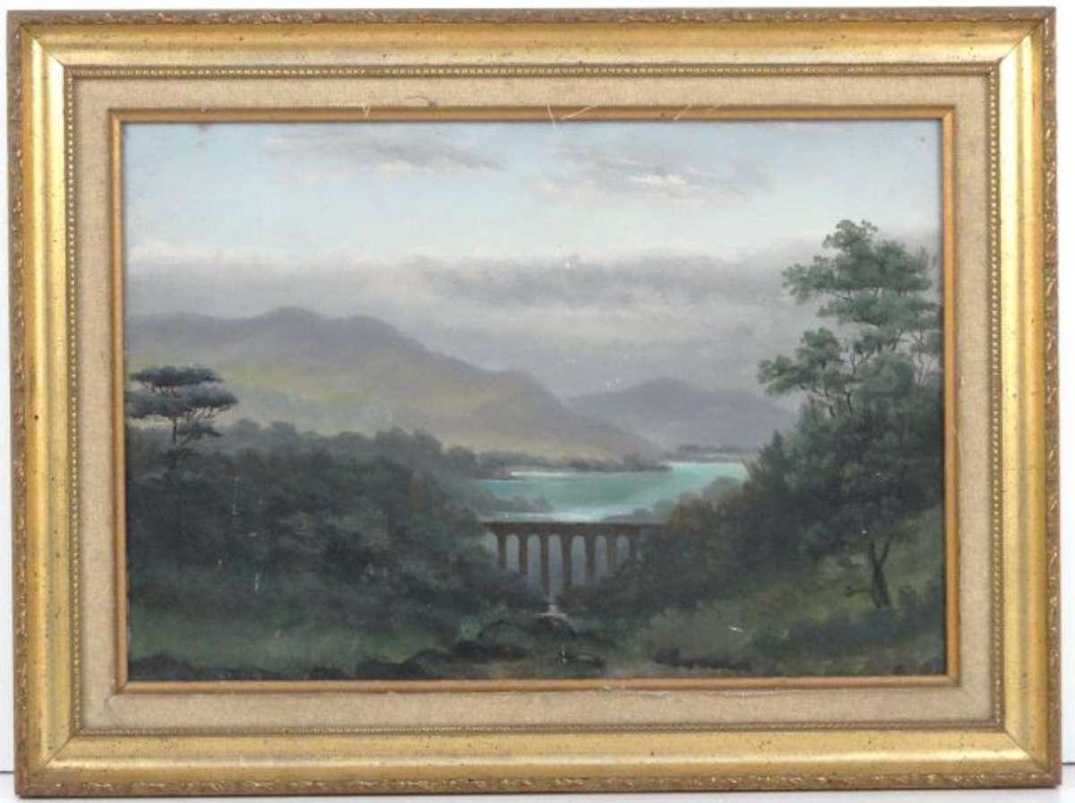 ecole xx me s paysage au viaduc huile sur panneau 24 5 x 35 cm vente aux ench res tableaux. Black Bedroom Furniture Sets. Home Design Ideas
