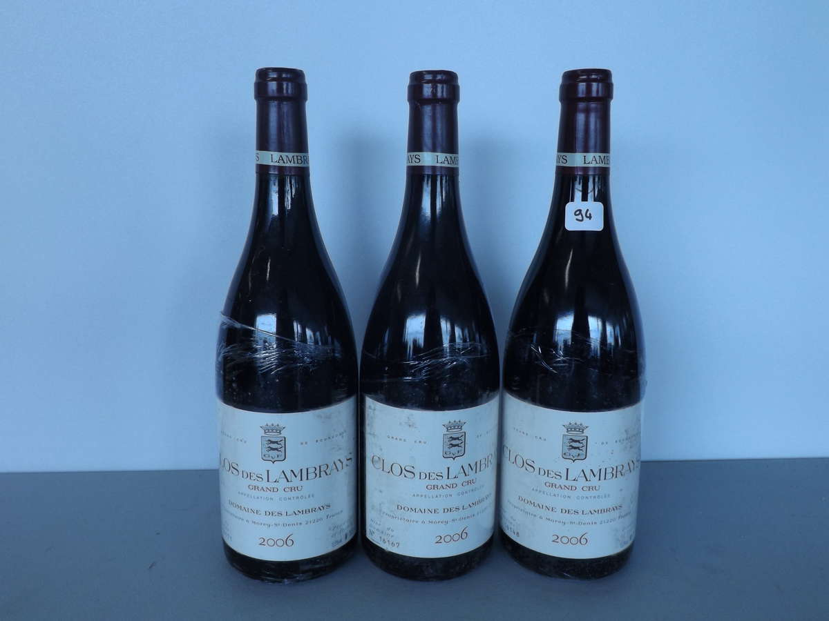 3 btles clos des lambrays grand cru 2006 domaine des lambrays vente aux ench res vins. Black Bedroom Furniture Sets. Home Design Ideas