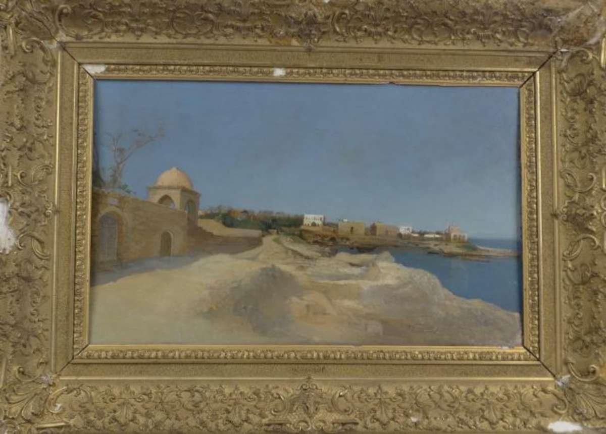 Ecole moderne XXe. Paysage orientaliste. Huile sur panneau. Non signée. 42...