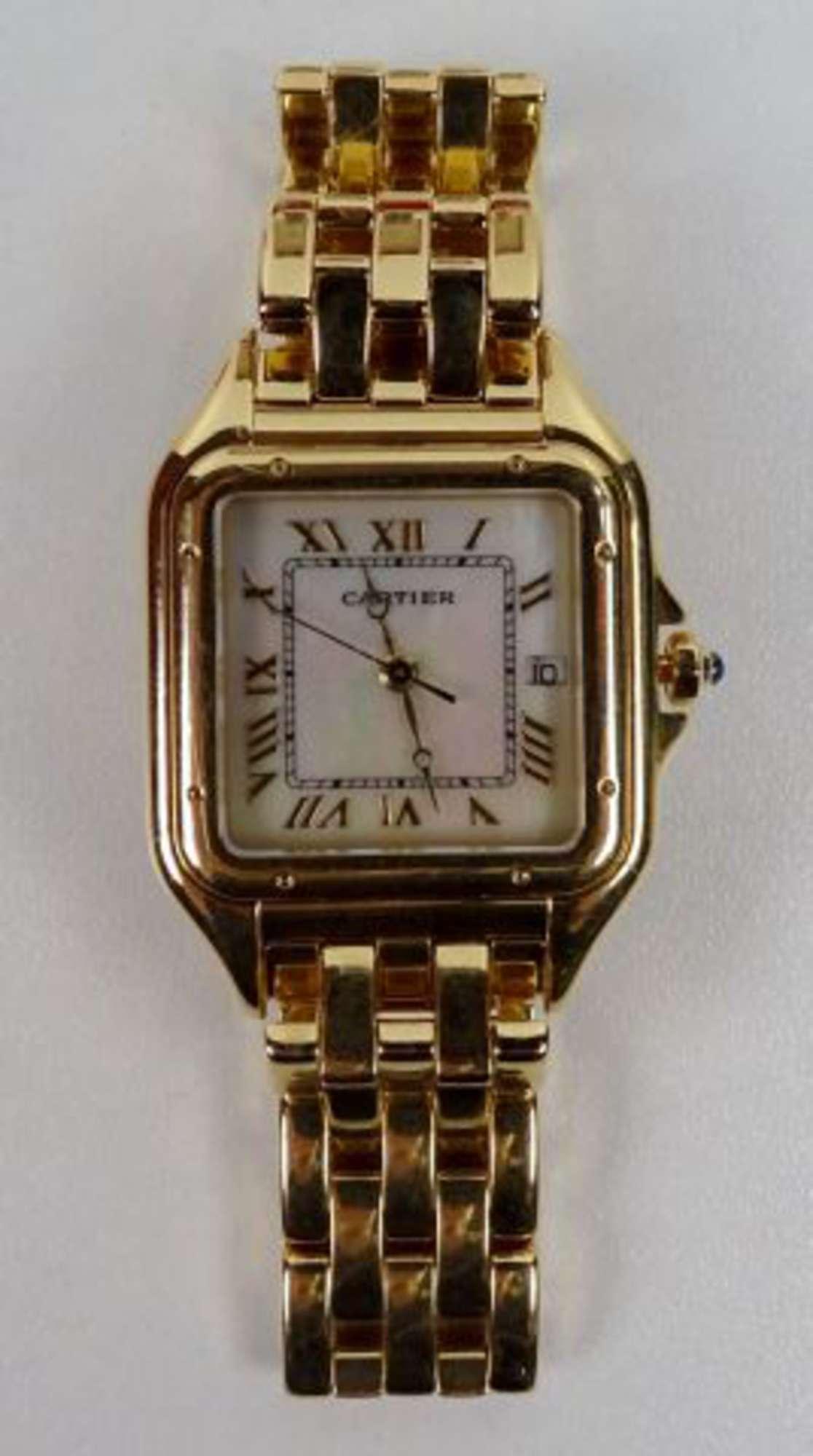 cartier must de montre bracelet de dame en or jaune 18k 750 00 boitier carr couronne de. Black Bedroom Furniture Sets. Home Design Ideas