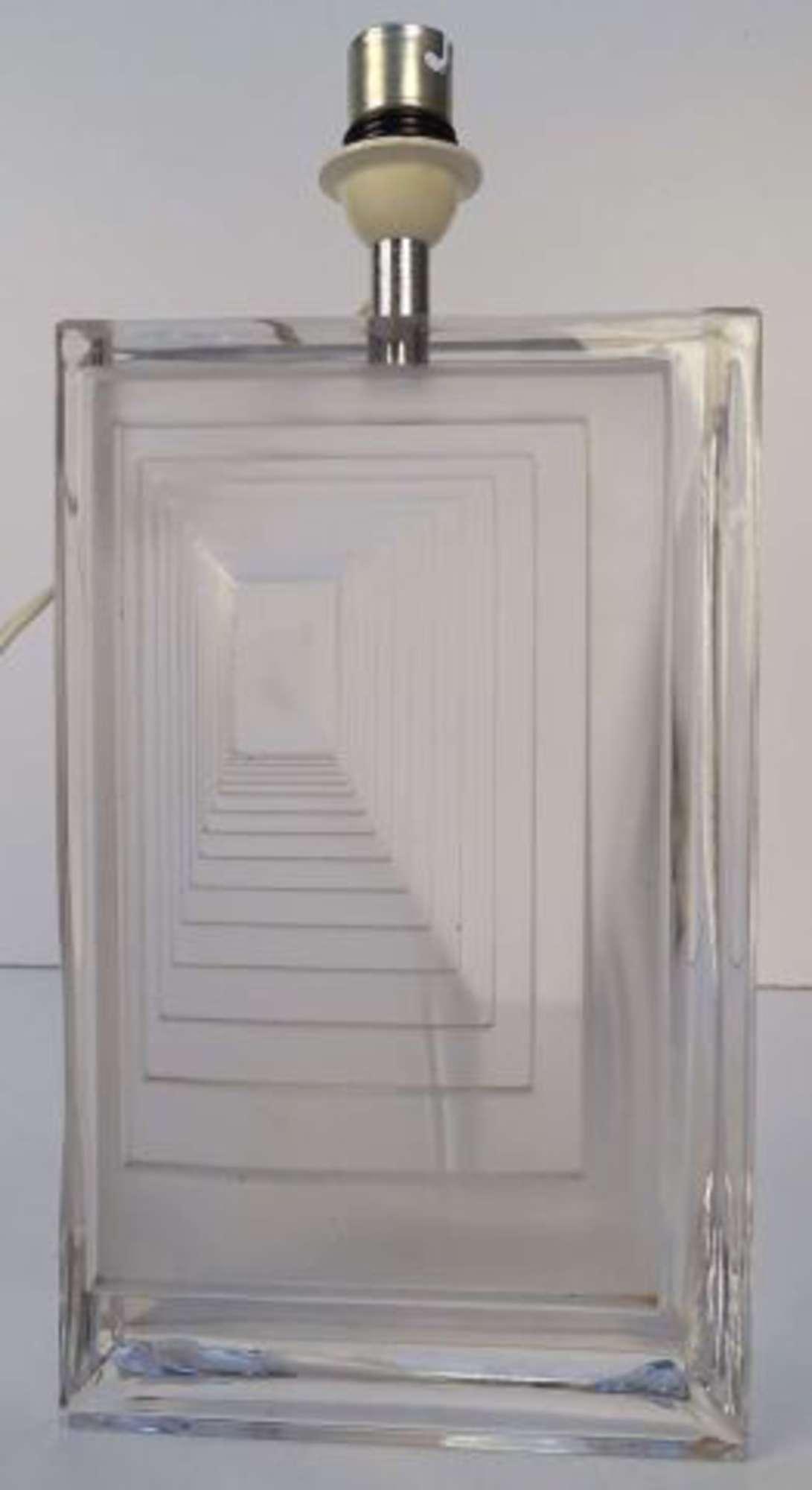 Daum France Pied De Lampe En Cristal A Decor De Gradins En Creux
