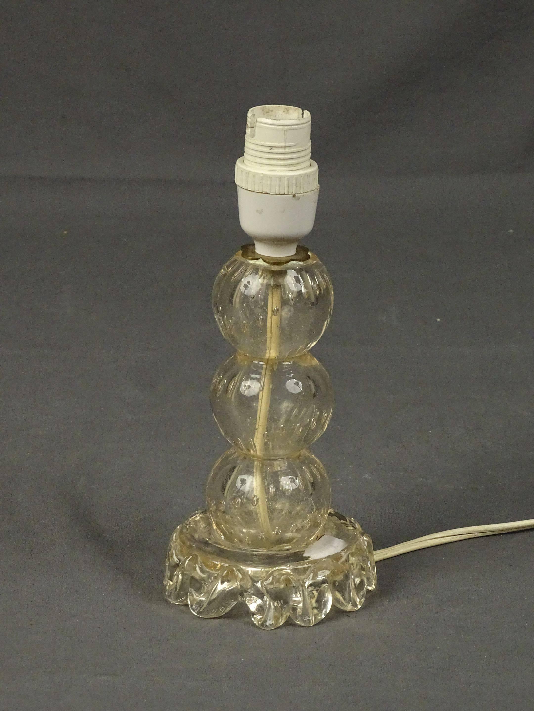 Pied de lampe en verre soufflé bullé H. 20 cm (léger éclat