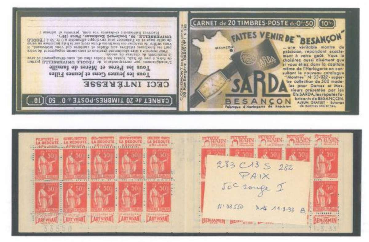 carnet ancien n°283_c13 type paix - 50c. rouge -(type i) . carnet