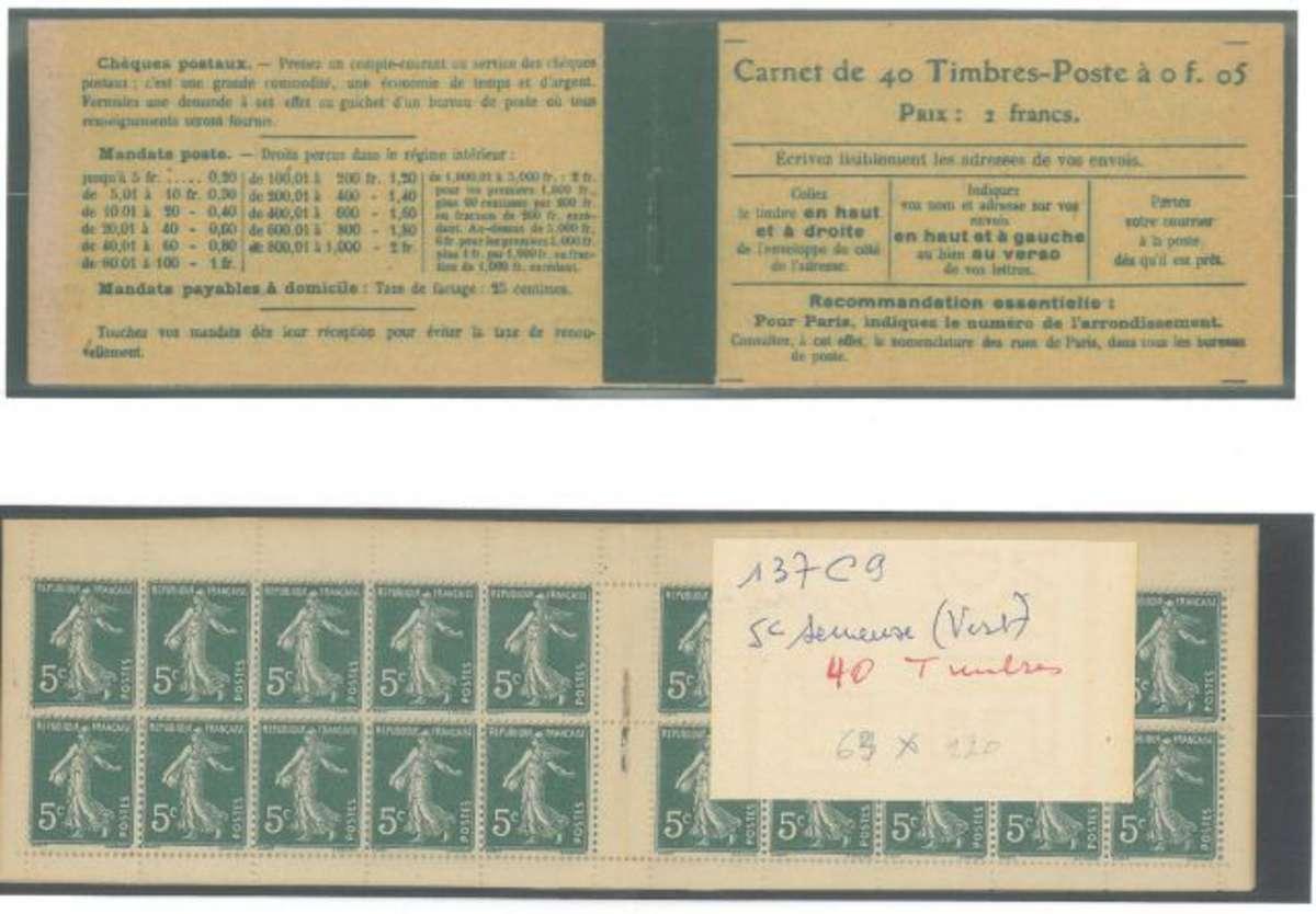 carnet ancien n 137 c9 type semeuse camee chiffres gras 5c vert type ii couverture avec. Black Bedroom Furniture Sets. Home Design Ideas