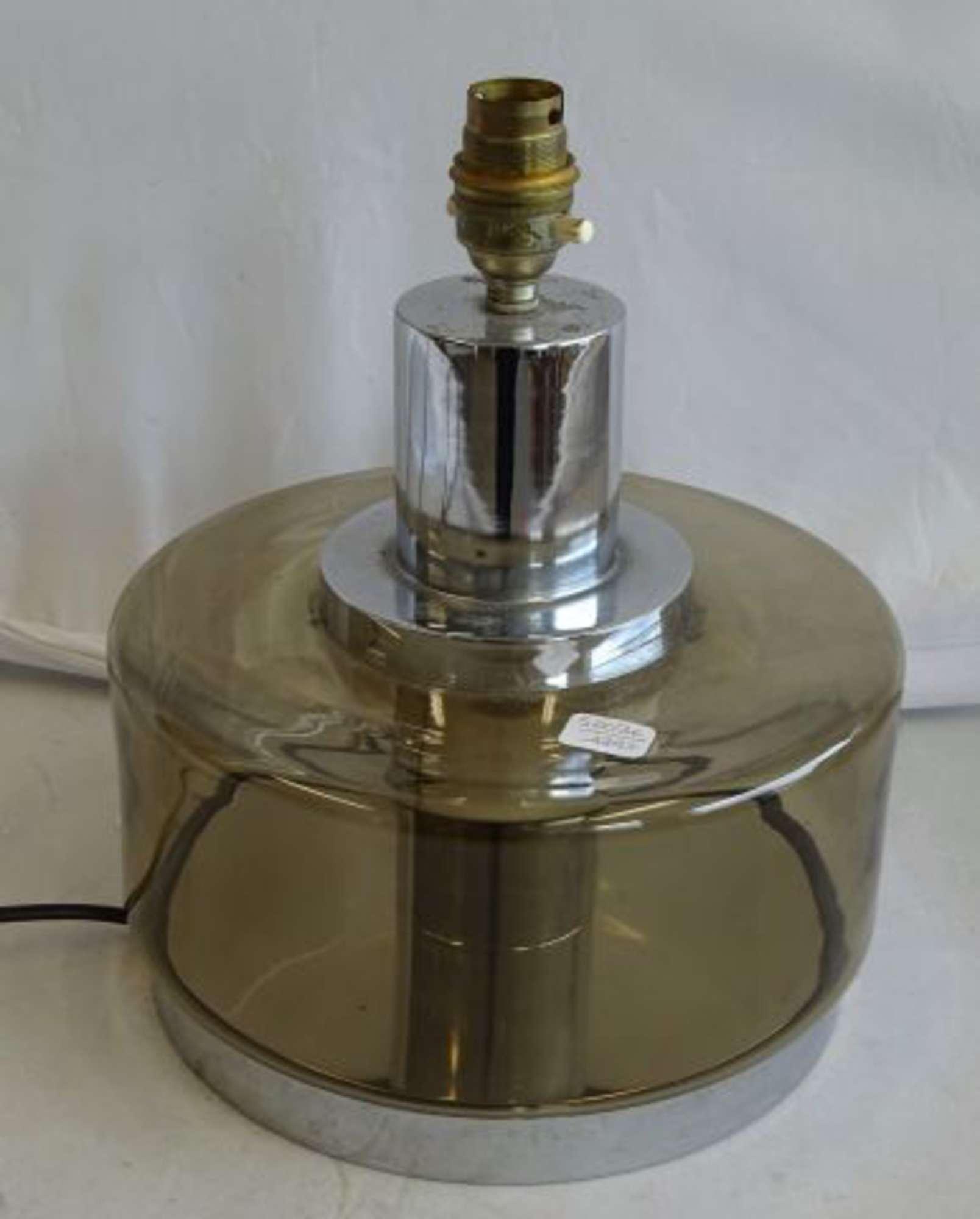 Pied De Lampe Tubulaire En Verre Fume Et Metal Chrome Circa 1970 H
