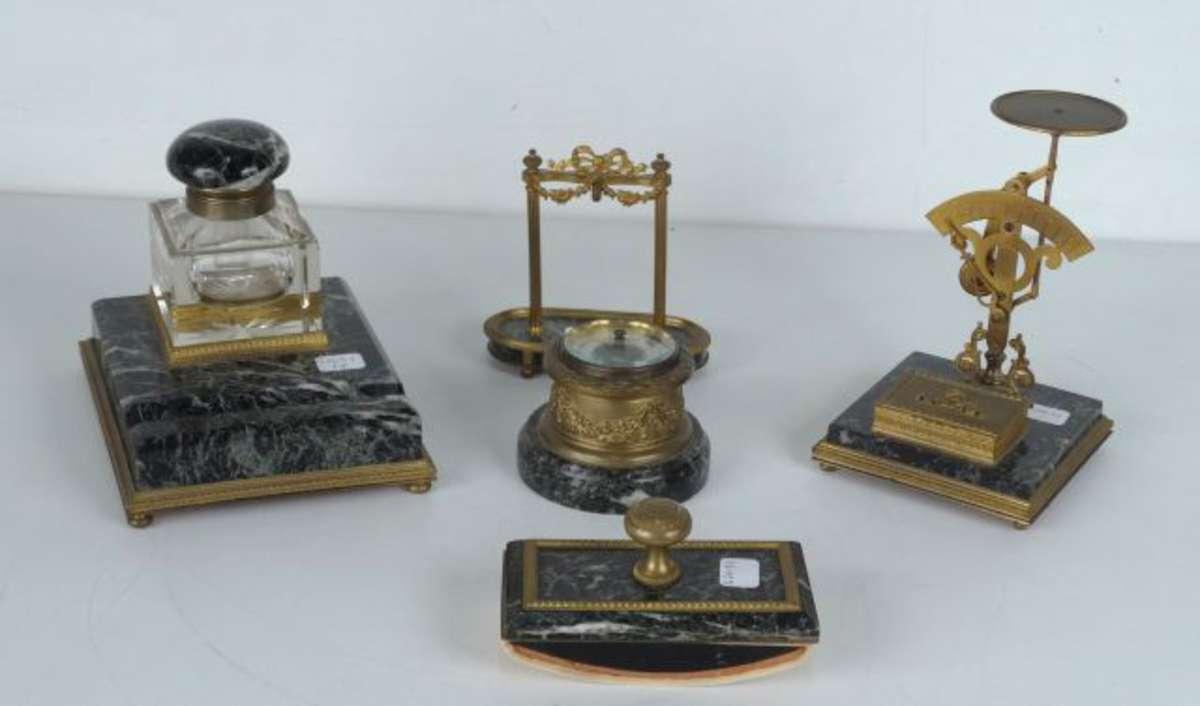 Garniture de bureau marbre vert antique et bronze à décor de tore