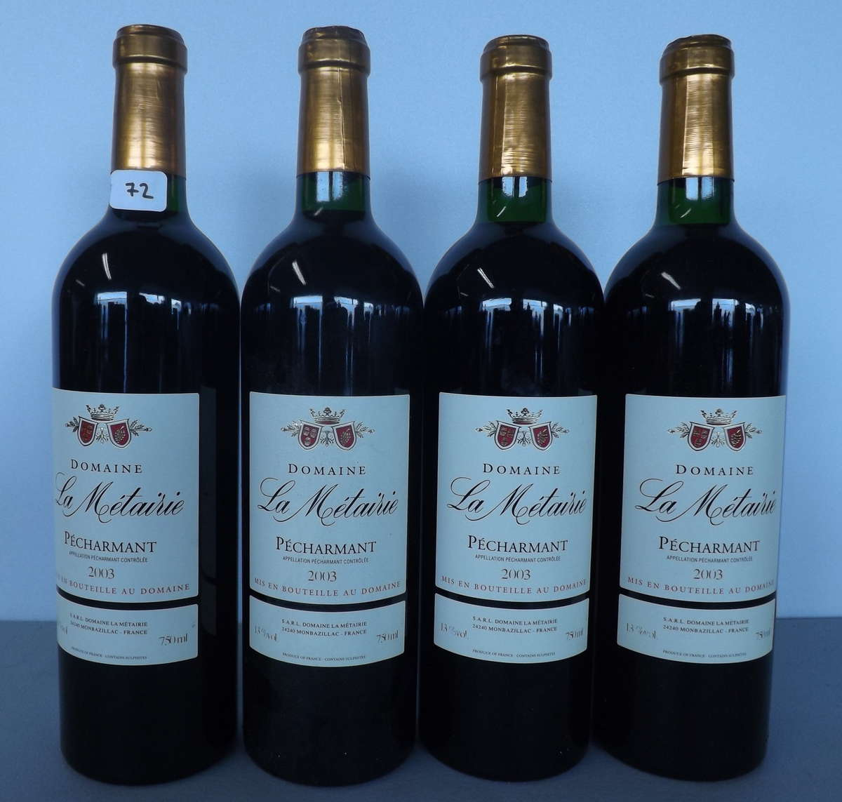 4 btles p charmant 2003 domaine la m tairie vente aux ench res vins spiritueux. Black Bedroom Furniture Sets. Home Design Ideas
