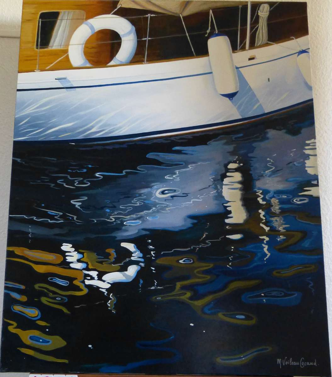 voileau cocaud martine nautic acrylique sur toile 92x73 cm vente aux ench res tableaux. Black Bedroom Furniture Sets. Home Design Ideas