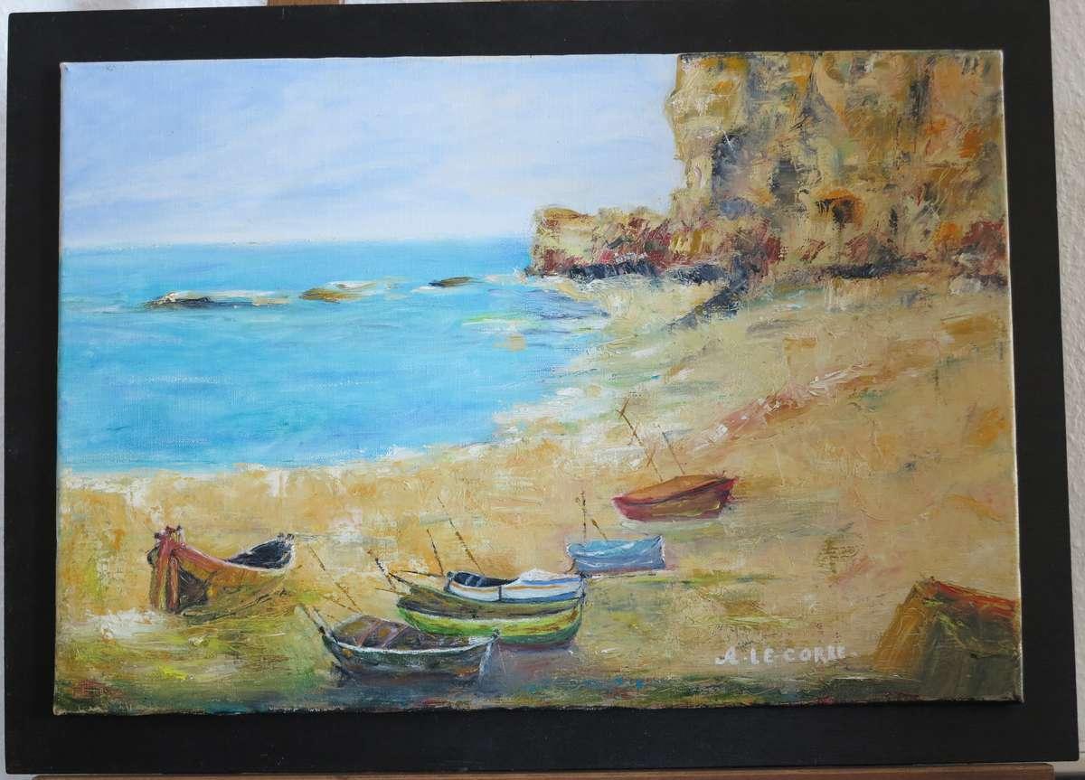 Le corre ang lina paysage marin huile 38x55 cm vente aux - Tableaux contemporains et modernes ...