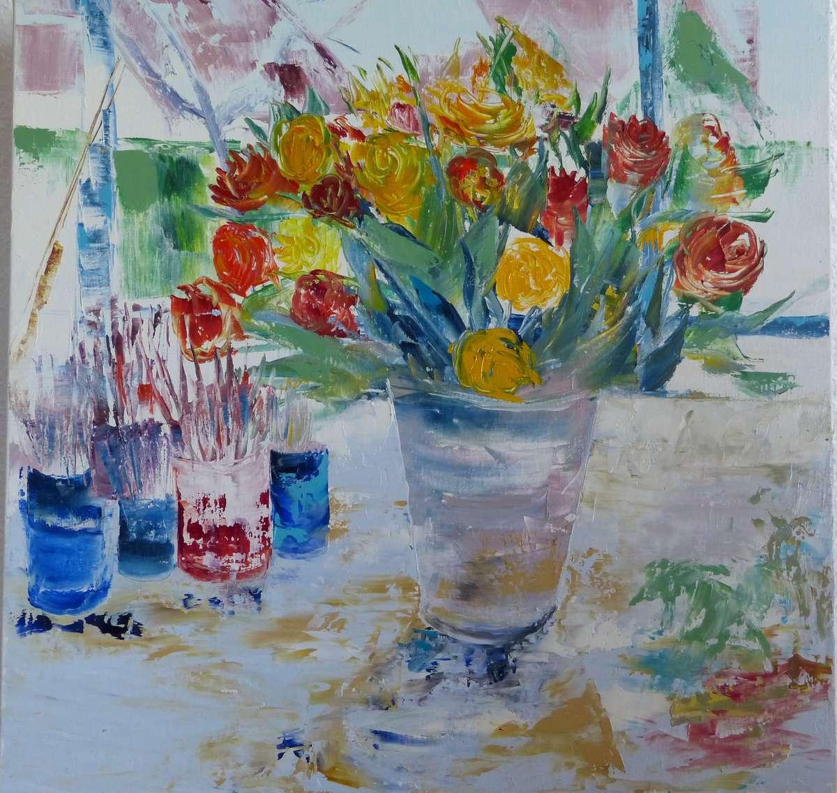 bailhache catherine bouquet huile au couteau 60x60 cm vente aux ench res tableaux modernes. Black Bedroom Furniture Sets. Home Design Ideas