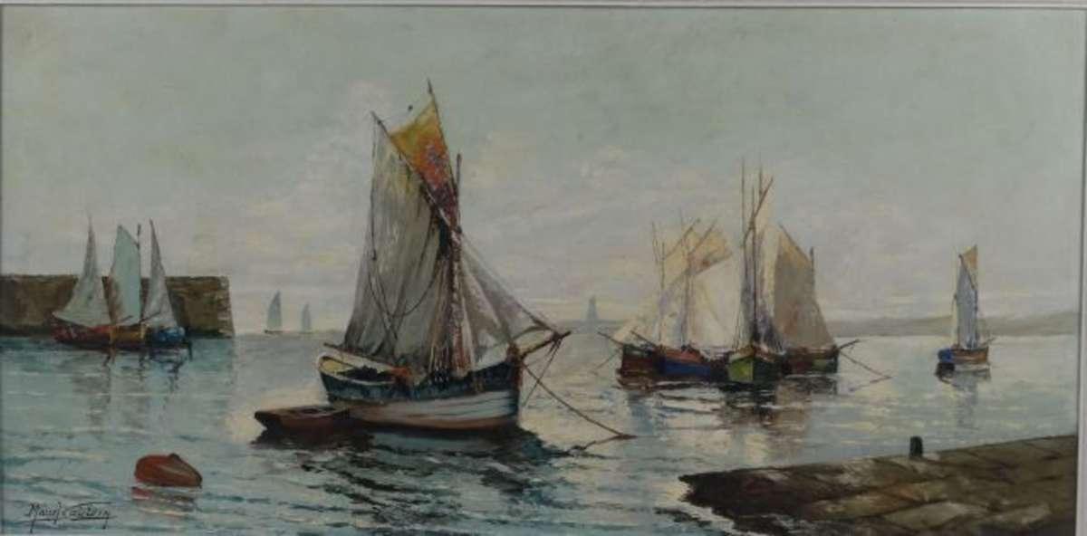 catelein marcel 1907 bateaux au port huile sur toile. Black Bedroom Furniture Sets. Home Design Ideas
