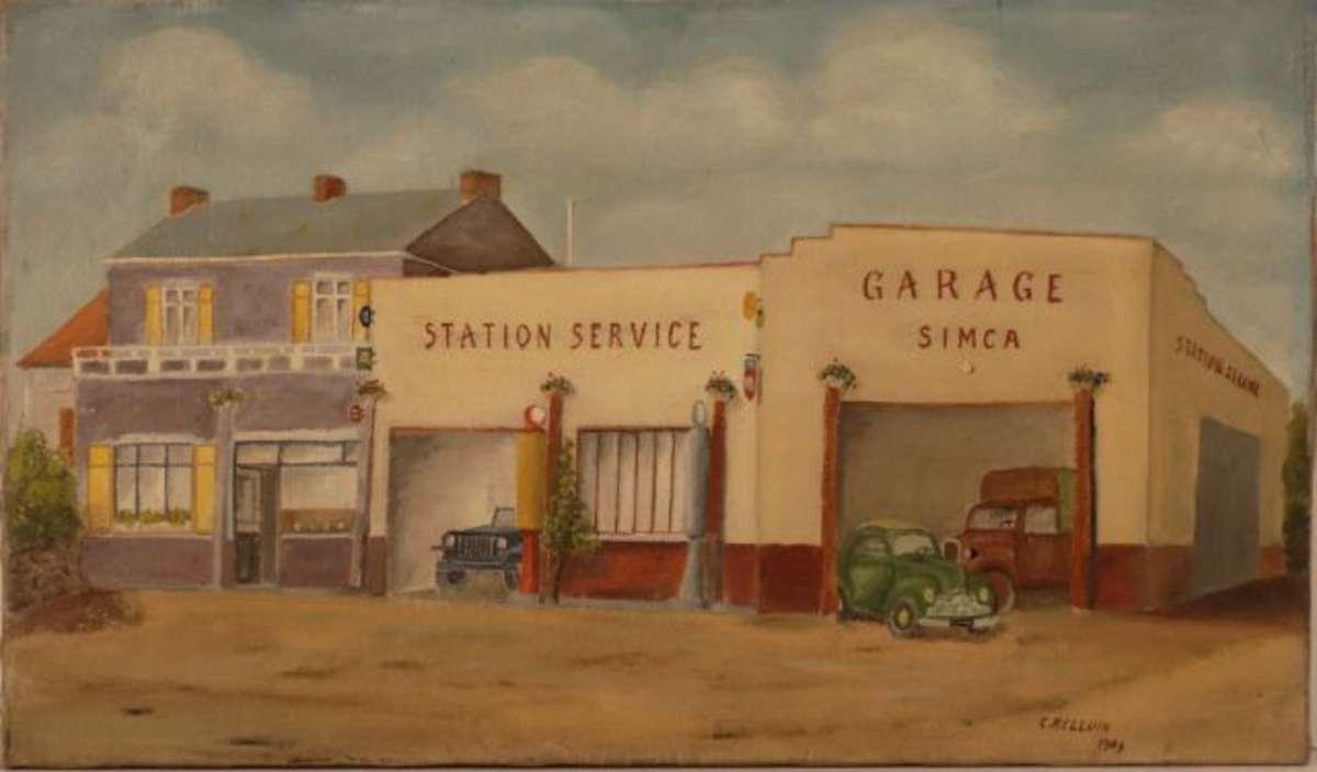helluin c xx s garage simca huile sur toile sign e dat e 1949 en bas droite 38 5 x 65 cm. Black Bedroom Furniture Sets. Home Design Ideas