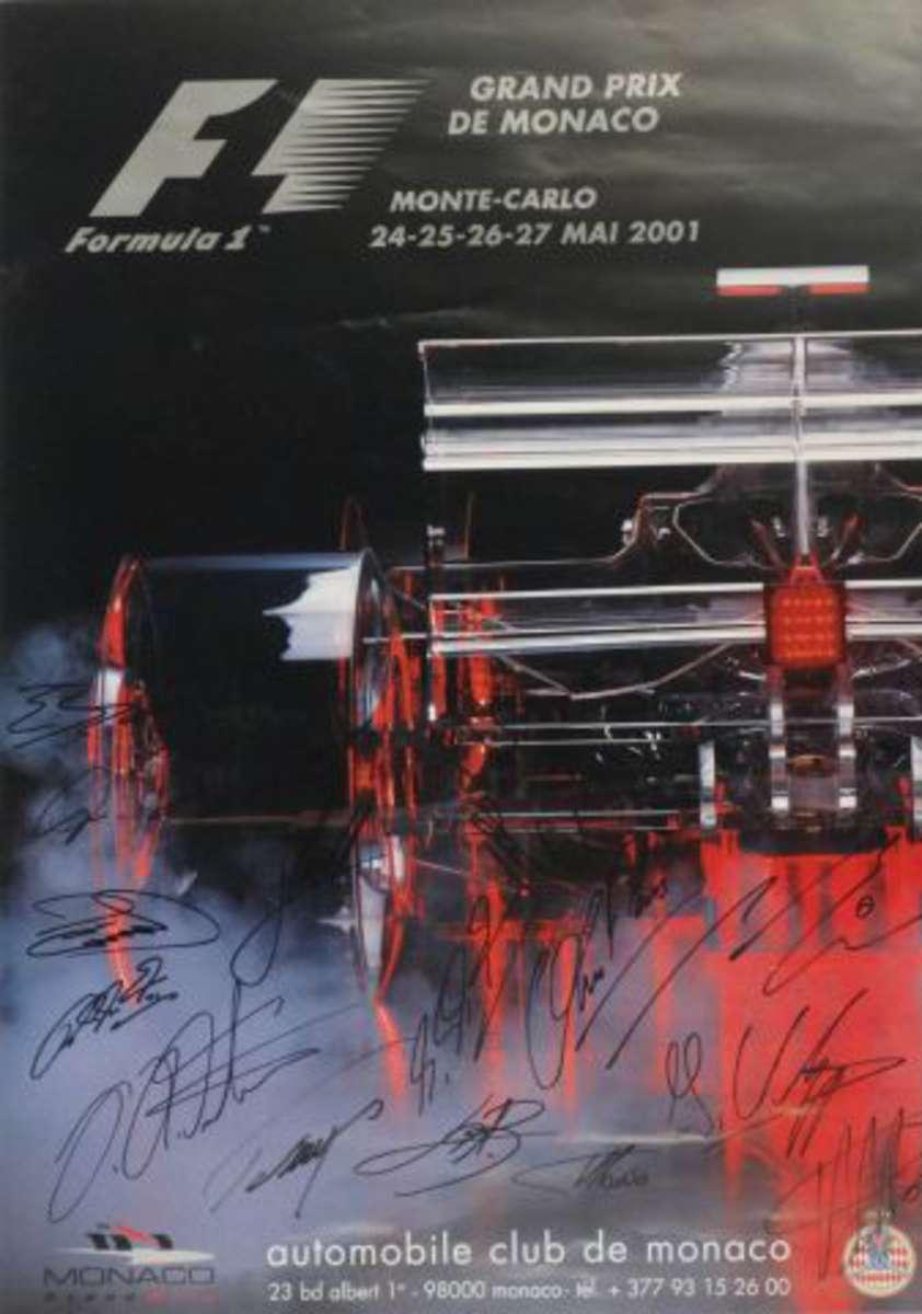 affiche du grand prix de formule 1 de monaco 2001 sign e par jarno trulli david coulthard. Black Bedroom Furniture Sets. Home Design Ideas