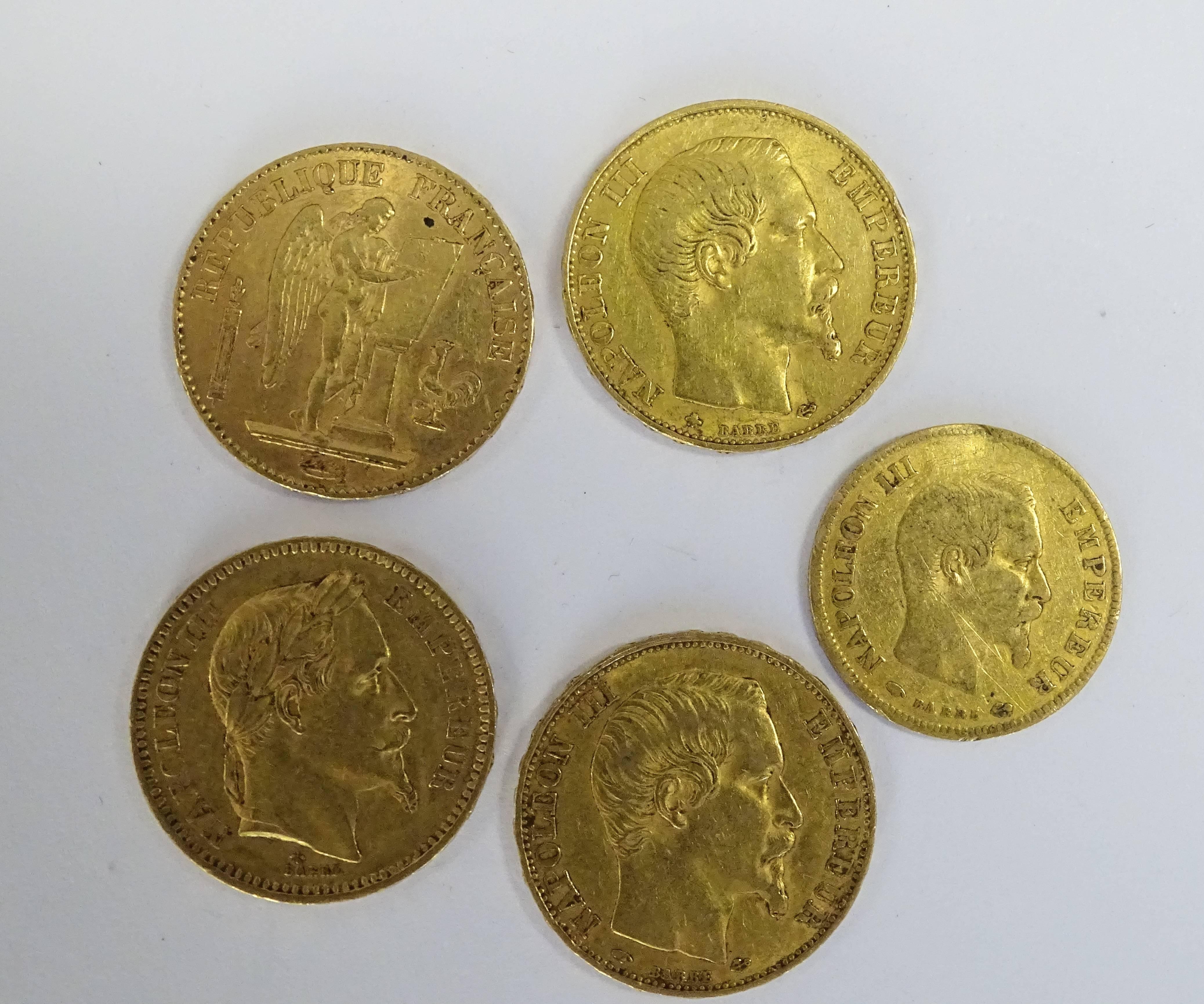2 pièces 20 francs or Napoléon III tête nue 1856 et 1859, 1
