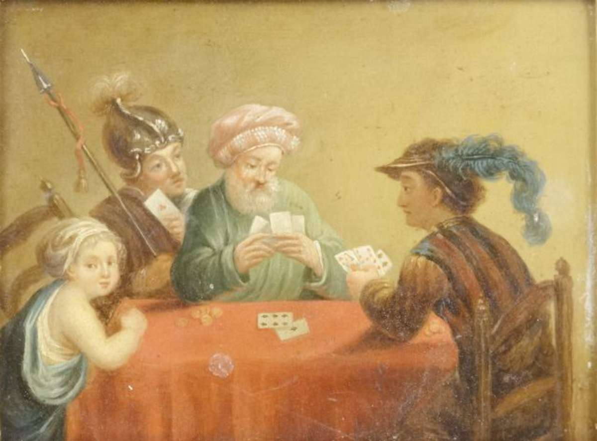 ecole ancienne les joueurs de cartes huile sur panneau 14 5 x 19 5 cm vente aux ench 232 res