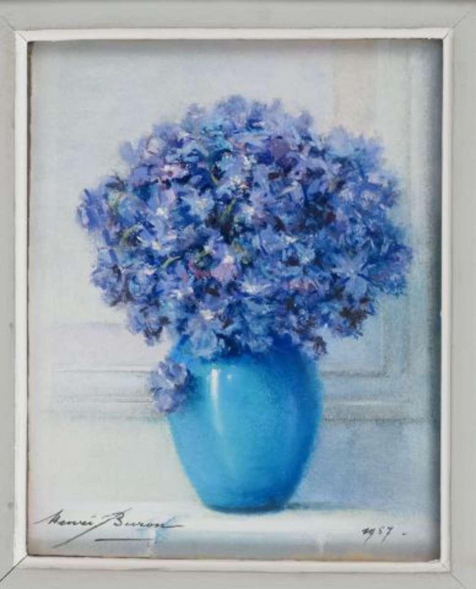 Buron Henri (1880,1969) Bouquet de fleurs bleues