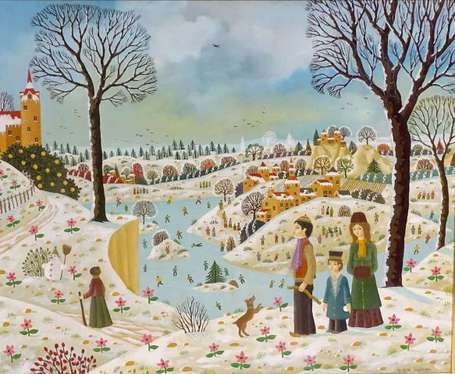 thomas alain 1942 paysage hivernal huile sur isorel sign e en bas droite titr e. Black Bedroom Furniture Sets. Home Design Ideas