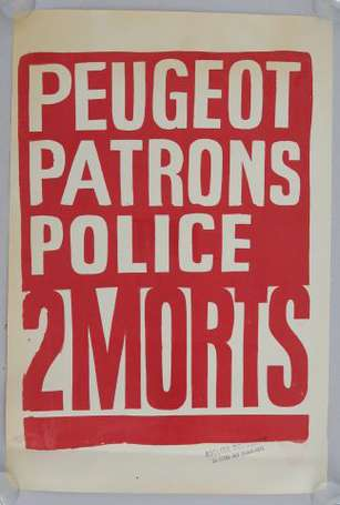 MAI 68 - PEUGEOT PATRONS POLICE 2 MORTS - Affiche
