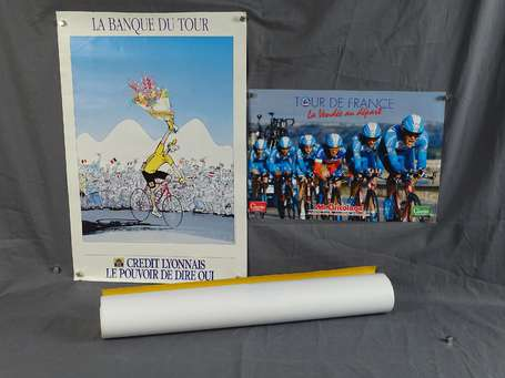 Lot de 8 affiches de cartes du Tour de France -