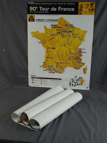 Lot de 20 affiches de cartes du Tour de France,