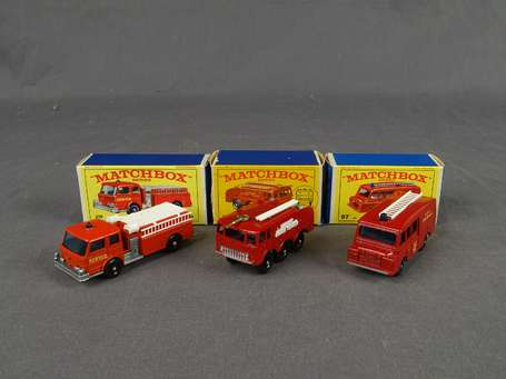 Matchbox - Lot de 3 vehicules de pompiers - ref