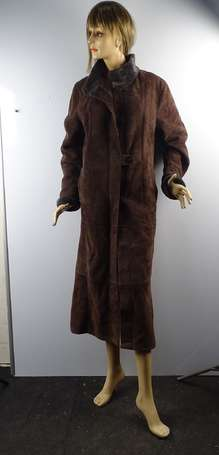 JEKEL- Long manteau en mouton retourné chocolat ,